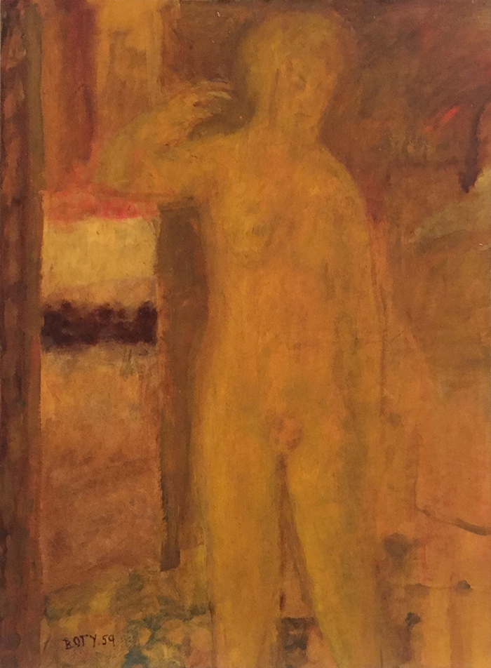 Untitled by Pauline Boty, 1959, oil on card laid on canvas. 69 x 51 cm